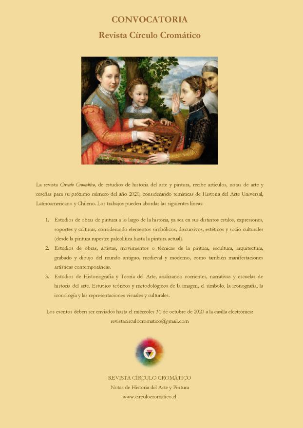 CONVOCATORIA 2020. Revista Círculo Cromático